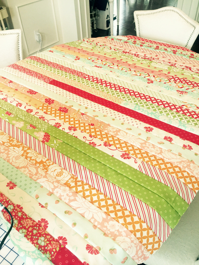 Hello-Darling-Jelly-roll-Quilt-Top