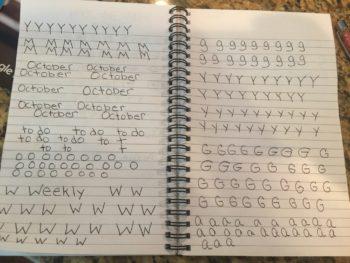 handwriting practice day one